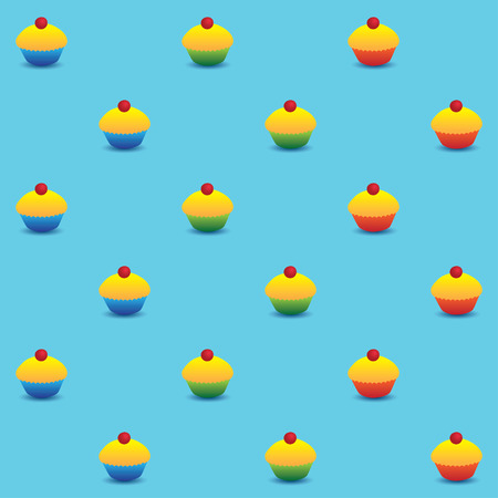 Vector seamless pattern. Yellow cupcakes with red cherry on the top in colorful cups. Square format, light blue background.
