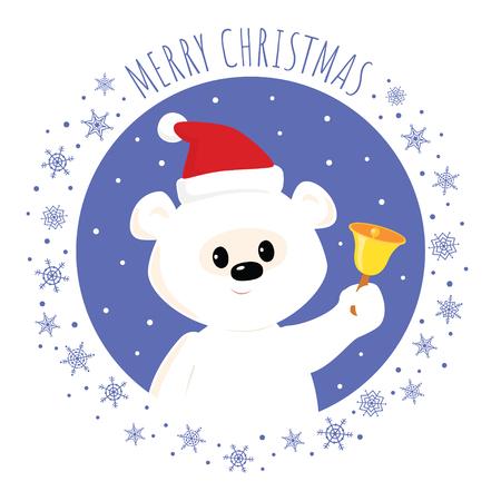 Christmas greeting card. Vector cartoon illustration of a cute baby polar bear in a Santa hat ringing a bell. Square format. Illustration
