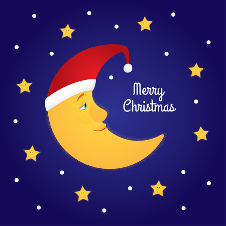 half moon: Holiday greeting card. Vector cartoon illustration of a half moon in a Santa hat among stars. Dark blue background, text Merry Christmas. Square format.