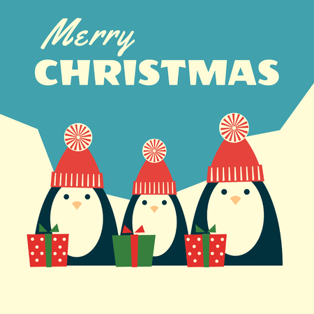 Vector retro styled illustration of three penguins in red knit hats with pompoms standing near gift boxes. Polar landscape on the background, text Merry Christmas. Square format. Illustration