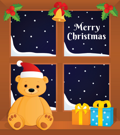 jingle bell: Vector greeting card. Colorful illustration of a window decorated with holly berries and jingle bell. Brown teddy bear in a Santa hat sitting on the sill next to gift boxes. Text Merry Christmas. Illustration