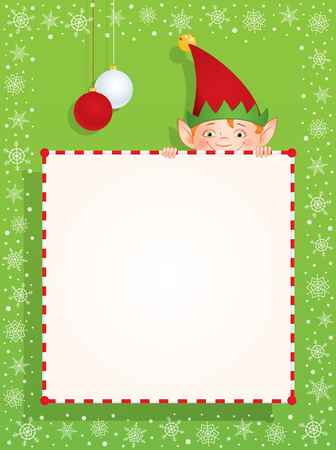 peek: Vector cartoon illustration of a Christmas Elf hiding behind a blank banner. Place for text on a white background. Vertical format.