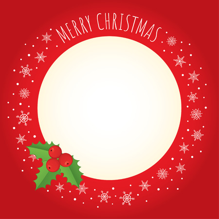 free place: Vector holiday background. Red frame with holly berry, a border made of snowflakes, and greeting Merry Christmas written with a hand-drawn font. Free place for text on a cream background.