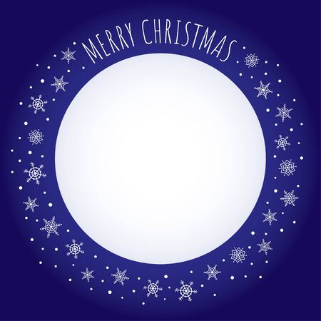free place: Vector holiday background. Dark blue frame with snowflakes and greeting Merry Christmas written with a hand-drawn font. Free place for text on white background. Illustration