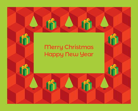 horizontal format horizontal: Vector greeting card with isometric cubes, gift boxes and Christmas trees. Text Merry Christmas and Happy New Year on a green background. Pattern  Horizontal format. Illustration