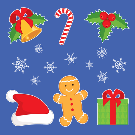 jingle bell: Vector illustration. Set of cartoon Christmas symbols: ginger man, jingle bell, holly berry, Santa hat, gift box, candy cane and snowflakes. Isolated on blue background, white outline.