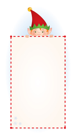 peek: Vector cartoon illustration of a Christmas Elf  in a red cap hiding behind a blank long vertical sign. Place for text on a white background. Isolated on white. Illustration