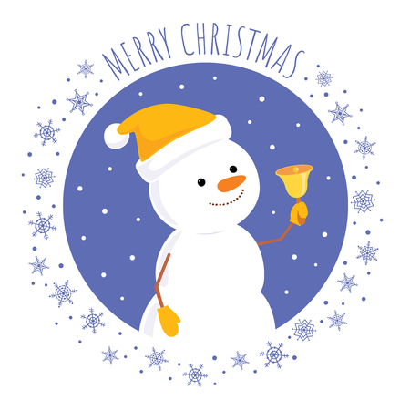 Christmas greeting card. Vector cartoon illustration of a cute snowman in a yellow cap looking up and ringing a bell. Square format, text Merry Christmas.