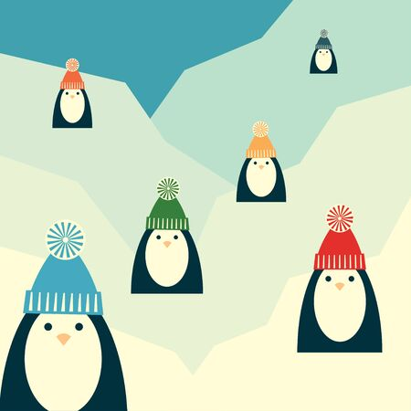 Vector retro styled illustration of six penguins in knit hats with pompoms standing on a glacier. Square format.