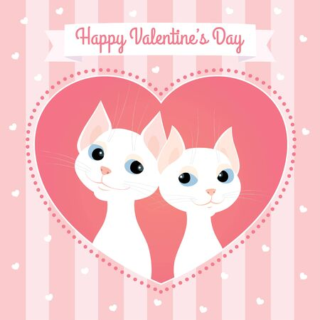Vector greeting card. Cartoon illustration of a couple of white cats looking at each other. Heart shaped frame, pink pastel colors, striped background, square format. Text Happy Valentines Day.