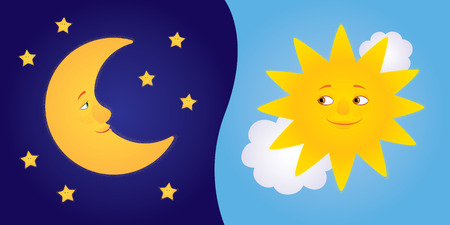 Vector cartoon illustration of half moon with stars and sun among clouds looking to each other and smiling. Horizontal format.