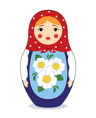 Vector colorful illustration of a Russian nesting doll Matryoshka crying. Bright colors, traditional ornament. Isolated on white.