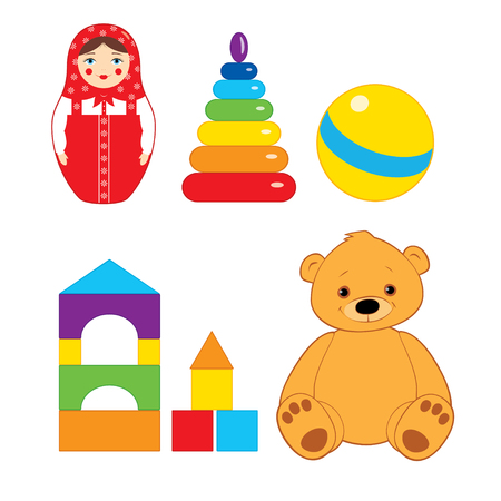 Set of vector colorful illustration of children toys: brown teddy bear, ball, blocks, russian nesting doll and stacking rings tower. Isolated on white.