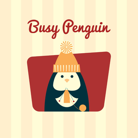 pompom: Vector retro styled illustration of a penguin in a yellow knit hat with pompom knitting a scarf. Striped background, text Busy Penguin, square format.