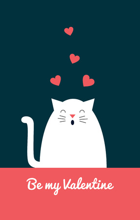 Greeting card. Vector retro styled illustration of a white cat singing love song. Text Be my Valentine. Vertical format. Dark background.