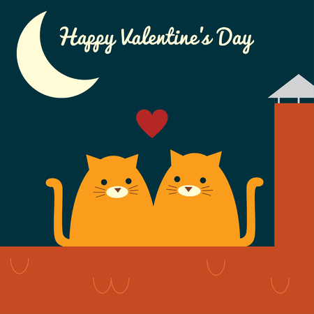 """Greeting card. Vector retro styled illustration of a couple of ginger cats sitting on a roof near a chimney. Half moon in a night sky. Square format. Text """"Happy Valentine's day""""."""