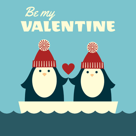 Greeting card. Vector retro styled illustration of a couple of penguins in red knitted hats, standing on an ice floe and holding hands. Blue background. Square format. Text Be my Valentine. Illustration