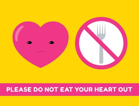 """celos: Vector ilustración de dibujos animados de un carácter de corazón y suspiro prohibido con un tenedor. Texto """"Por favor no coma su corazón hacia fuera"""". Formato horizontal. Vectores"""