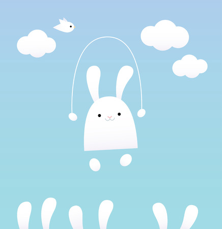 baby: Vector illustration of a white baby bunny with skipping rope. Blue sky, clouds and bird on the background. Pastel colors.