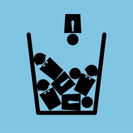 cynical: Vector minimalist metaphorical illustration on the topic of personnel reduction. Icon of a trash bin full of people. Square format. Black and blue colors.