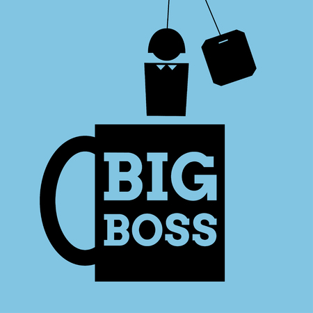 cynical: Vector simplified illustration. Icon of a mug with words Big Boss written on it and a person instead of teabag. Square format. Black pictogram on blue background.