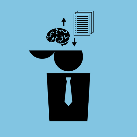 brainwash: Vector minimalist illustration. Icon of a human whose brain is being replaced with a papers with a list of instructions. Black on blue. Square format.