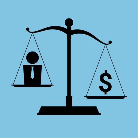 Vector vereinfachte Darstellung zum Thema Materialismus und Gier. Symbol einer Skala mit einem Menschen auf der einen Pfanne und Dollar-Symbol auf der anderen. Schwarze und blaue Farben. Vektorgrafik