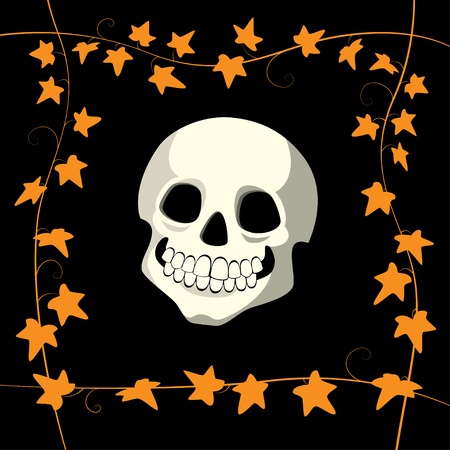 Vector illustration of a smiling skull on a black background with a frame made of orange ivy. Square format.