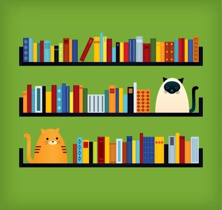 Bunte Retro- angeredete Abbildung des Vektors. Drei Bücherregale. Ingwer-getigerte Katze und siamesische Katze, die nahe den Büchern sitzt. Grüner Hintergrund Quadratisches Format