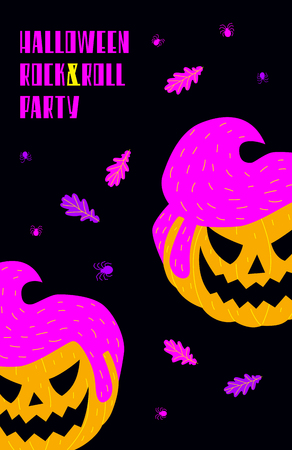 Vector Halloween rock and roll party invitation with pumpkins.