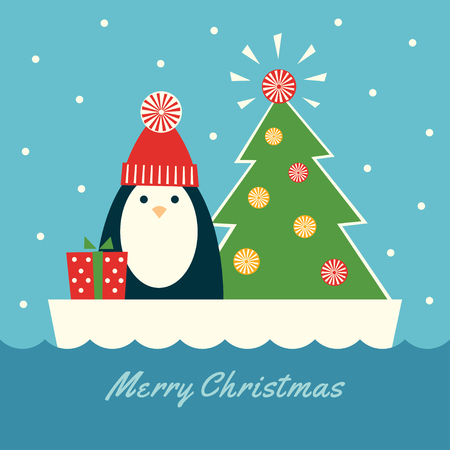 Greeting card with  retro styled illustration of a penguin in a red knit hat, standing on an ice floe next to a decorated fir tree. Illustration