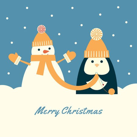 Retro styled illustration of a penguin in a cap with pompom knitting a very long scarf for a snowman.