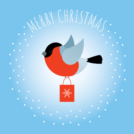 Vector Christmas illustration. Red bullfinch bird flying and carrying a shopping bag. Greeting text. Round snowy frame. Sky blue background. Square format.