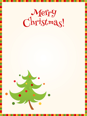 Vector bright Christmas background with colorful striped border, greeting text and illustration of a decorated fir tree. Place for text. Vertical format.