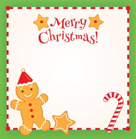 Christmas square background with place for text. Vector colorful illustration of a gingerbread man in a Santa cap, candy cane and star shaped cookies. Red and white striped border.