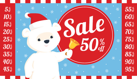 Vector round sale sign with illustration of baby polar bear in santa hat ringing a bell. Set of all relevant numbers for different discount amounts included. Light blue background with snowflakes.