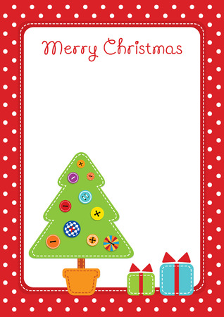 Vector colorful illustration of a fabric stitched gifts and green Christmas tree decorated with buttons. Place for text on a white background. Red dotted border. Vertical format.