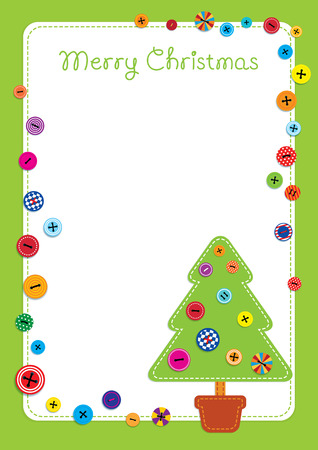 Vector colorful illustration of a fabric stitched green Christmas tree and scattered colorful buttons. Place for text on a white background. Green frame. Vertical format.