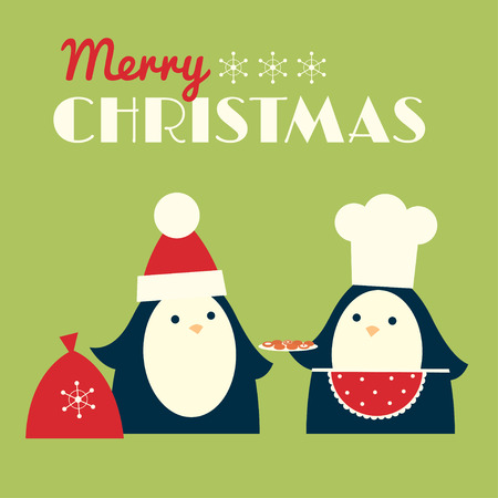 Christmas retro styled greeting card. Penguin in a chef hat and red apron is offering cookies to another one, who is wearing Santa cap. Vector illustration. Square format. Light green background.