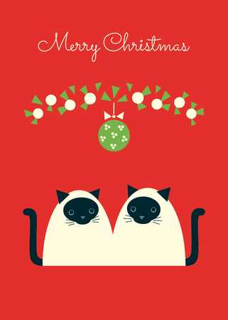 Merry Christmas retro styled greeting card. Pair of Siamese cats sitting under mistletoe ball. Red background. Vertical format. Vector illustration.