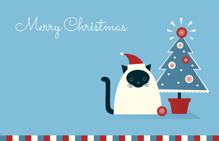 Christmas greeting card. Siamese cat in a Santa hat sitting near potted Christmas tree. Light blue background. Horizontal format. Place for text. Vector retro styled illustration.