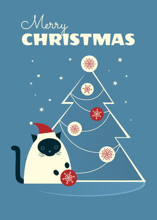 Christmas retro styled greeting card. Siamese cat in a Santa hat sitting near Christmas tree and playing with a bauble. Blue-gray background with stars. Vertical format. Cartoon vector illustration.