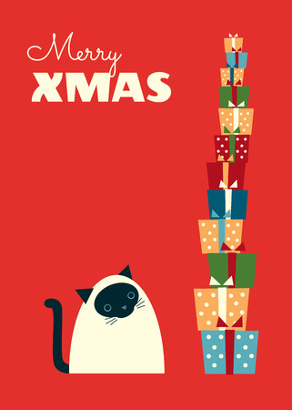 Christmas retro styled greeting card. Siamese cat sitting and looking at a high stack of gifts. Cartoon vector illustration. Red background. Vertical format. Vibrant colors. Illustration