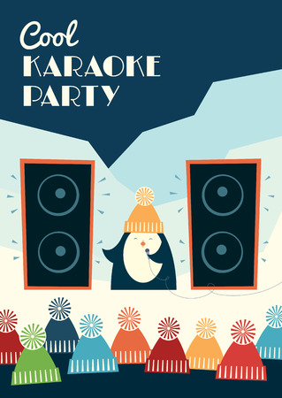 Retro styled karaoke party invitation. Cute cartoon penguin singing into a microphone outdoors. A crowd is listening to the singer. Snowy landscape. Vector illustration. Vertical format.