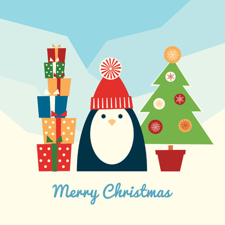 Merry Christmas retro styled greeting card. Square format. Cute penguin standing outdoors with a pile of gifts and Christmas tree in a pot. Cartoon colorful vector illustration. Light blue background. Ilustrace