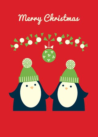 Merry Christmas retro styled greeting card. Penguin couple standing under mistletoe ball. Red background. Vertical format. Vector illustration. Ilustrace