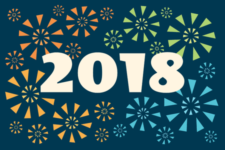 Vector retro styled illustration. Colorful fireworks and number 2018 on a dark background. Horizontal banner. Ilustrace