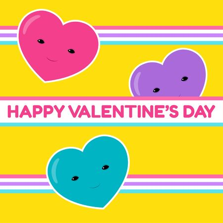 Happy Valentine's Day banner. Vector illustration of three cute heart characters. Yellow background. Square format. Retro style, the eighties. Vibrant colors. Greeting text.
