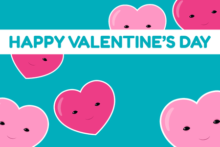 Happy Valentine's Day banner. Vector illustration of six cute smiling cartoon heart characters on a turquoise background. Horizontal format.