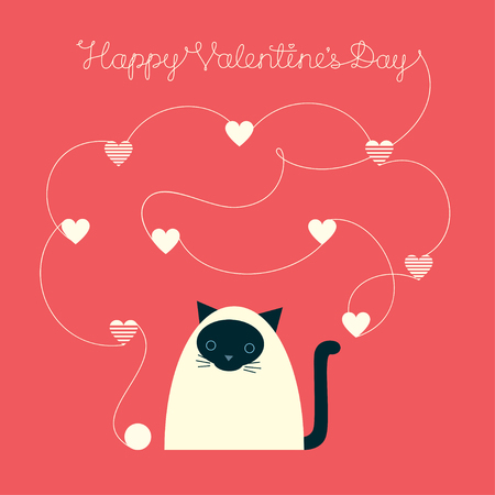 Holiday greeting card. Vector illustration of a cute cartoon Siamese cat with yarn ball and knitted hearts. Text Happy Valentine's Day. Ilustrace